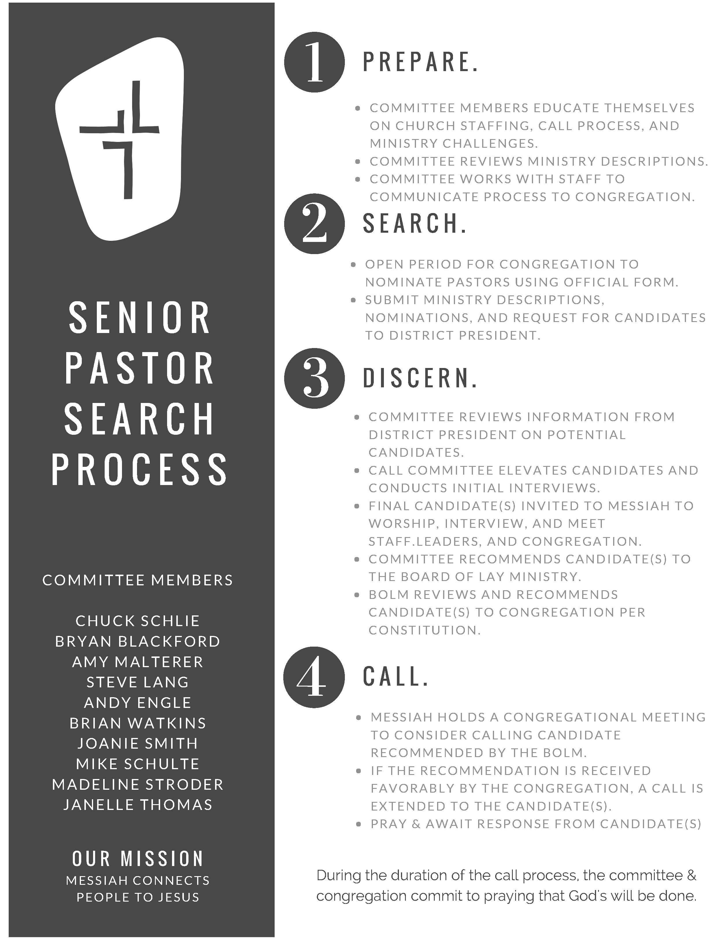 Senior Pastor Call Process - Messiah Lutheran Church